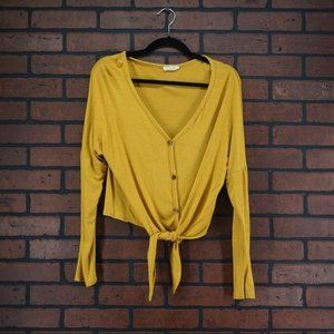 OLIVIA RAE Button Front Tie Bottom Top Yellow Sz M